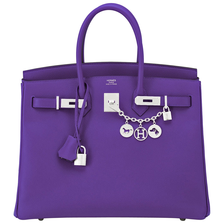 Hermes Birkin 35cm Crocus Deep Purple Epsom Bag Palladium Hardware NEW RARE