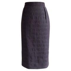 2000s Yves Saint Laurent Rive Gauche Purple Diamond Weave Pencil Skirt