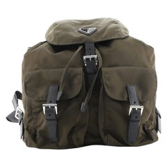 Prada Vela Double Front Pocket Backpack Tessuto with Saffiano Medium