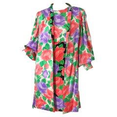 1980s James Galanos Rose Floral Print Silk Vintage 80s Dress + Swing Jacket