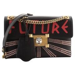 Gucci Linea A Shoulder Bag Crystal Embellished Printed Leather