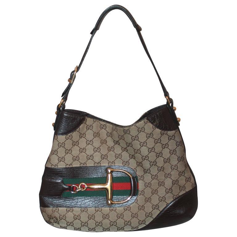 9b5200c3d92aba Gucci Brown Hasler Monogram Shoulder Bag w/ Horse Bit & Leather Trim - GHW  For