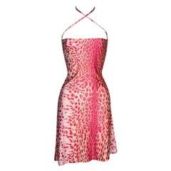 S/S 2001 Roberto Cavalli Pink Leopard Nylon Halter Mini Dress