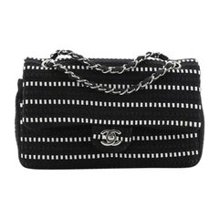 Chanel Classic Double Flap Bag Tweed and Ribbon Medium