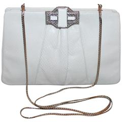 Judith Leiber White Snake Clutch/Evening Bag w/ Art Deco Clasp - SHW