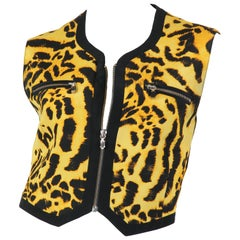Gianni Versace Couture Leopard Zipper Silk Top