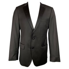 HUGO BOSS Super 120 Size 42 Regular Black Wool Notch Lapel Sport Coat