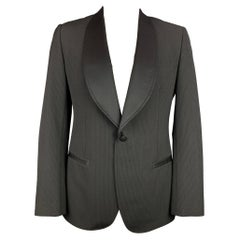 DOLCE & GABBANA Size 44 Regular Black & Grey Pinstripe Polyester Sport Coat