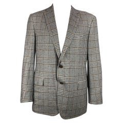 ERMENEGILDO ZEGNA Size 48 Regular Grey & Brown Plaid Cashmere Sport Coat