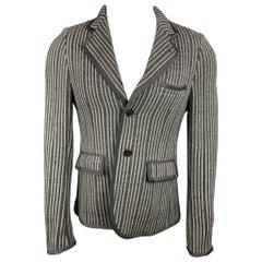 BLACK FLEECE Size 38 Grey & Beige Vertical Stripe Wool Sport Coat