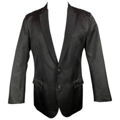 DOLCE & GABBANA Size 42 Black Silk Blend Notch Lapel Sport Coat