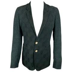 ANN DEMEULEMEESTER Size S Black Jacquard Cotton Notch Lapel Sport Coat