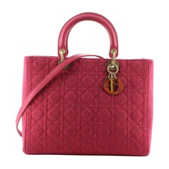 Christian Dior Lady Dior Bag Cannage Quilt Tweed Large