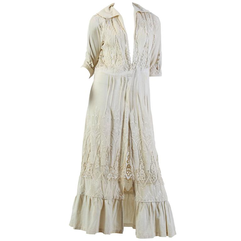 Embroidered Lace Edwardian Duster
