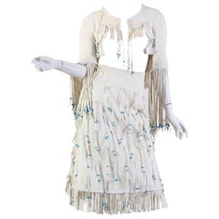 1970S GIORGIO SANT'angelo Off White Suede Fringed Skirt & Cropped Jacket Ensemb