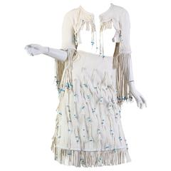 Giorgio Sant Angelo Native American Collection White Suede Fringe Ensemble