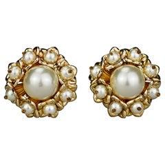 Vintage Massive French Flower Pearl Earrings