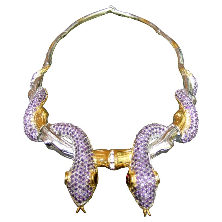Exotic Amethyst Articulated Sterling Serpent Choker Necklace  21st c For Sale