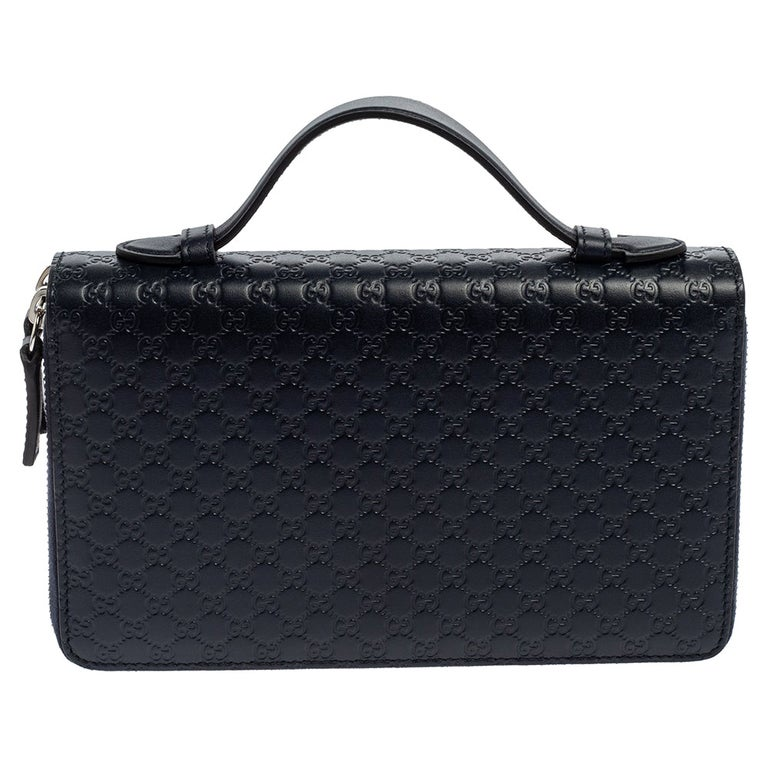Gucci Microguccissima Leather Double Zip Organizer Clutch