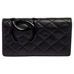 Chanel Quilted Leather Cambon Ligne Yen Long Wallet