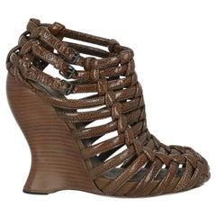Bottega Veneta Women Sandals Brown Leather EU 39