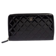 Chanel Quilted Patent Leather CC Zip Organizer Wallet