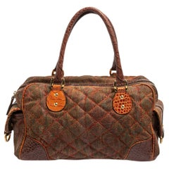 Etro Multicolor Paisley Print Quilted Croc Embossed Leather Side Pock Boston Bag