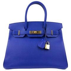 Hermes Birkin 30 Blue Electric Epsom Gold Hardware