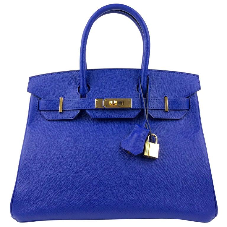Hermes Birkin 30 Blue Electric Epsom Gold Hardware For Sale