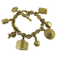 Christian Dior Vintage Iconic Gold Toned Charms Bracelet