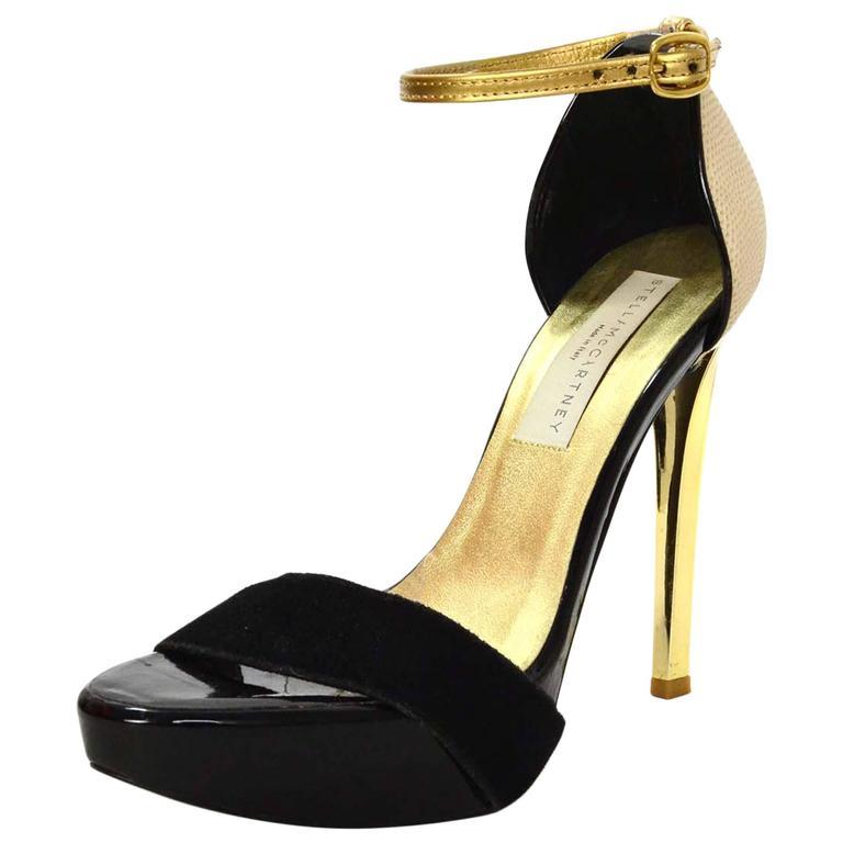 Stella McCartney Black & Gold Platform Sandals sz 36 For Sale