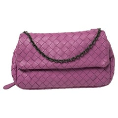 Bottega Veneta Magenta Intrecciato Leather Flap Chain Shoulder Bag