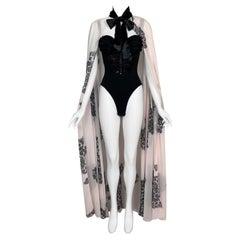 S/S 1993 Chantal Thomass Runway Black Lace Bodysuit & Pink Lace Print Cape