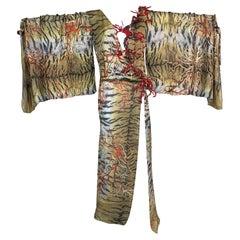 S/S 2005 Roberto Cavalli Runway Beaded Coral Sheer Tiger Silk Kimono Dress