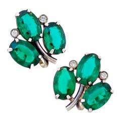 Sterling Silver & Emerald Green Crystal Clover Earrings, 1950s