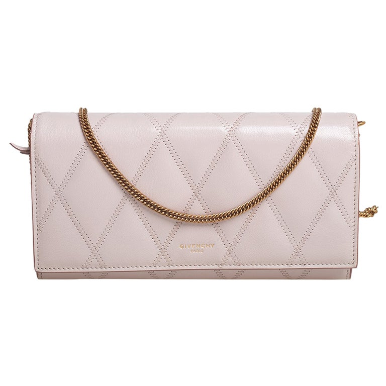 Givenchy Pale Pink Leather GV3 Wallet On Chain For Sale
