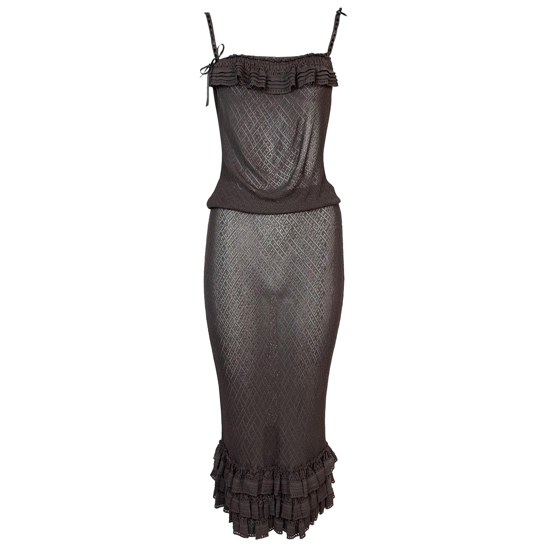 S/S 2006 Christian Dior John Galliano Sheer Brown Knit Top & Skirt Set