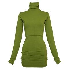 Vintage 1991 Dolce & Gabbana Green High Neck Crop Top & High Waist Mini Skirt
