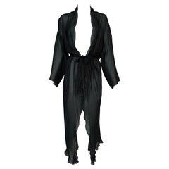 C. 2001 Christian Dior John Galliano Sheer Black Silk Robe Dress Jacket