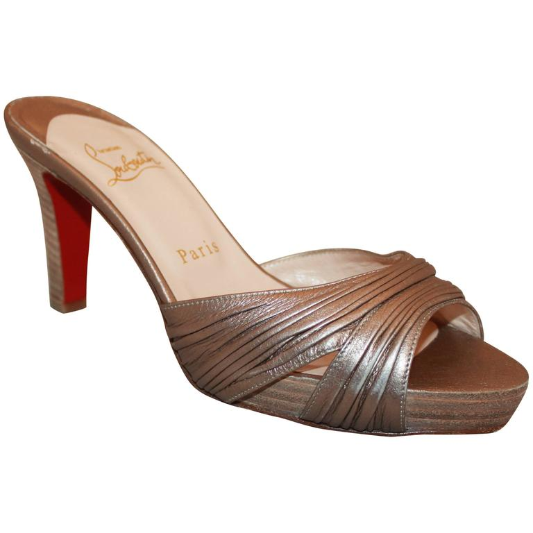 2d2423f49092 Christian Louboutin Bronze Woodstack Heel - 37 For Sale at 1stdibs