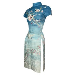 S/S 2003 Gucci by Tom Ford Runway Blue Japanese Cherry Blossom Mini Dress