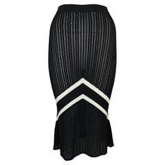 S/S 1999 Christian Dior John Galliano Black & White Knit Chevron Trumpet Skirt