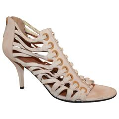 Givenchy Pale Pink Suede Strappy Heels - 8