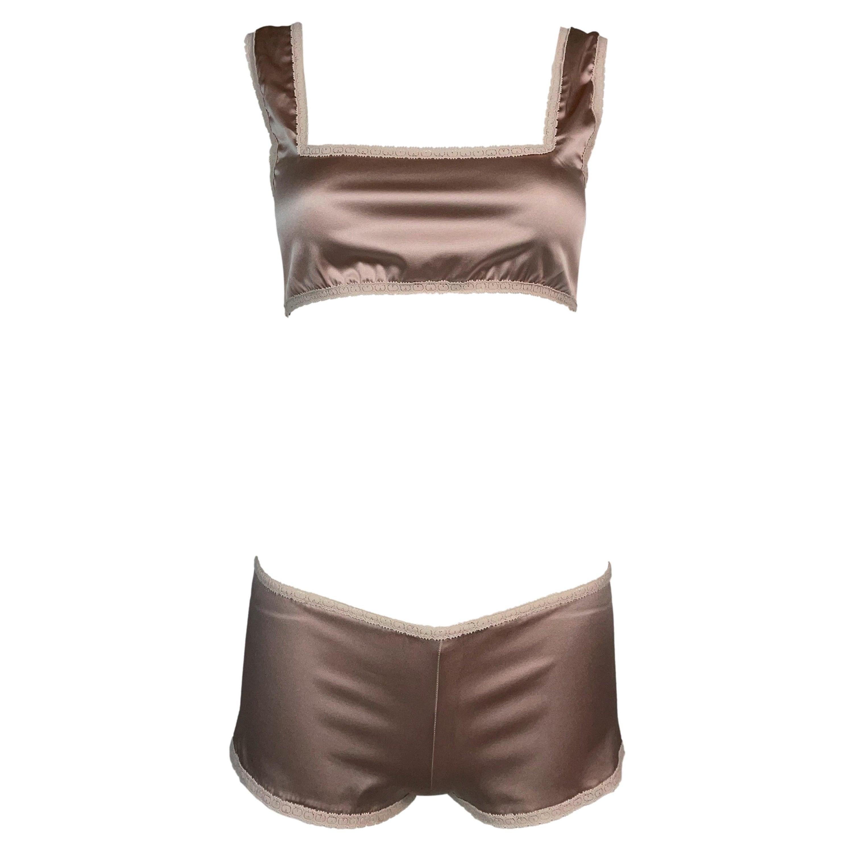 Vintage 1990's Jean Paul Gaultier Mauve Satin Crop Top & Shorty Shorts Set
