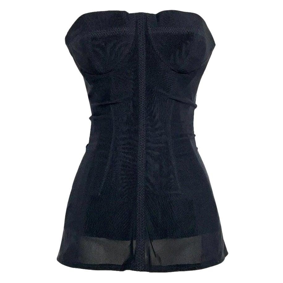 S/S 2001 Christian Dior John Galliano Haute Couture Black Mesh Corset Dress