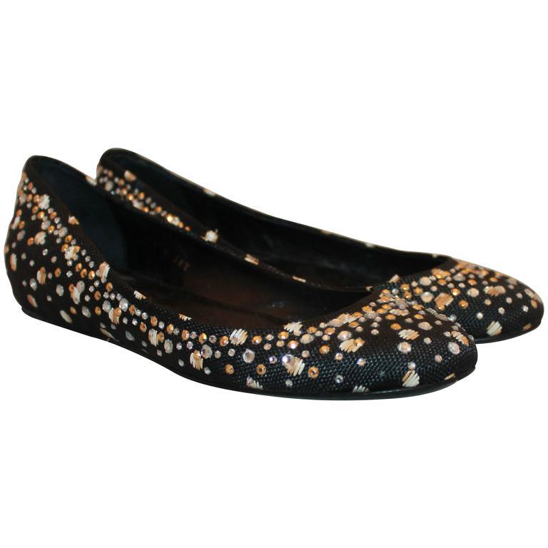 Valentino Black Raffia Ballerina Style Flats w/ Rhinestones - 38.5 For Sale