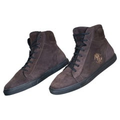 New ROBERTO CAVALLI BROWN SUEDE FUR LINED SHEARLING HIGH TOP SNEAKERS 42.5 -9.5