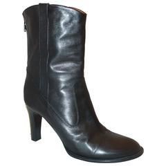 Chloe Black Leather Boots with Gold Detail - 38.5