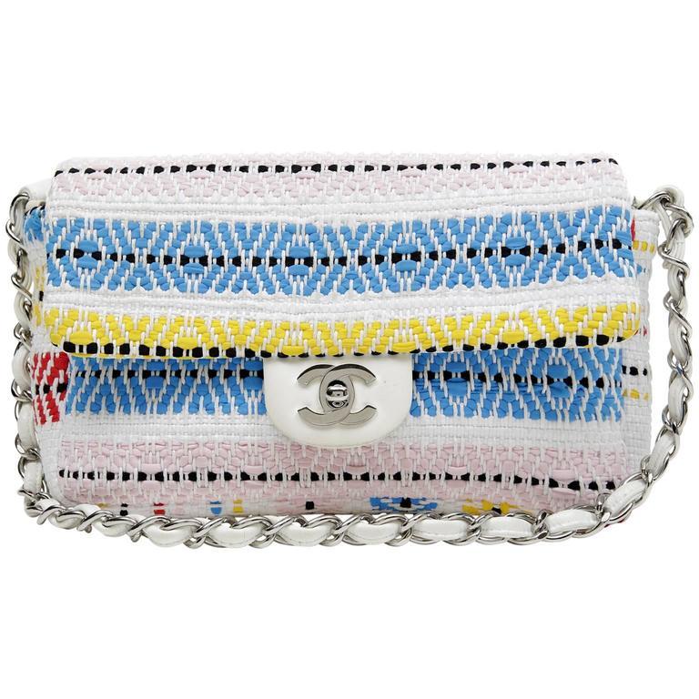 Chanel White Multi Woven Stripe Small Flap Bag For Sale