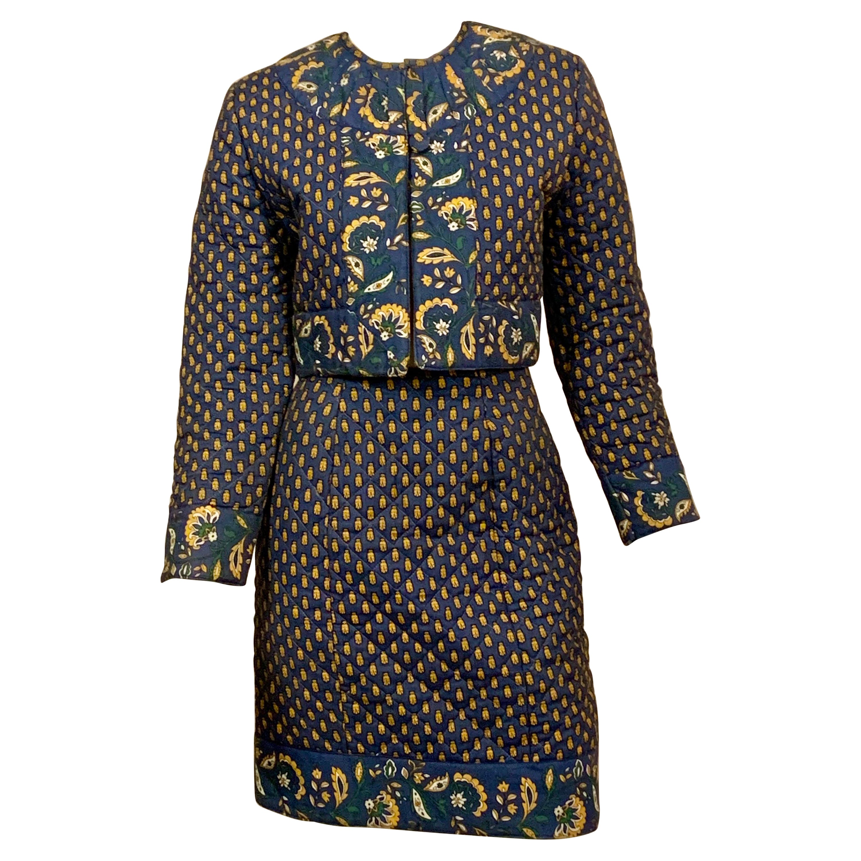 French Provencial Fabric Blue and Yellow Printed Cotton Quilted Skirt Suit